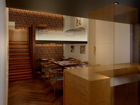 銀座のモダンフレンチレストランの店舗デザイン